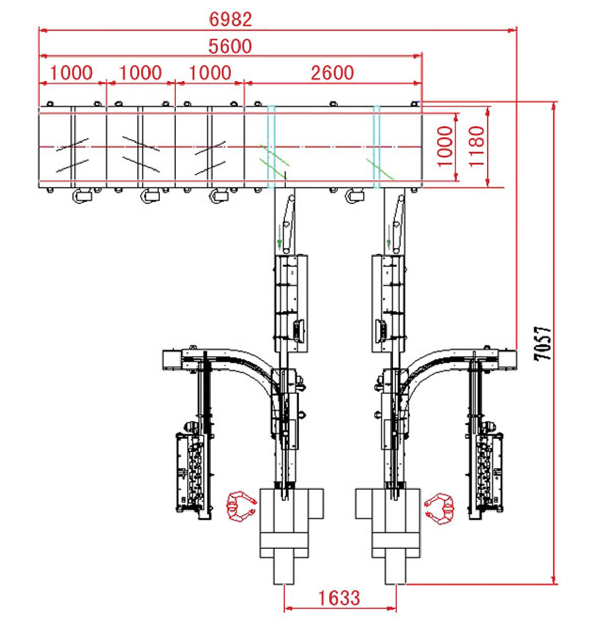 automatic tray loading and packaging system drawing