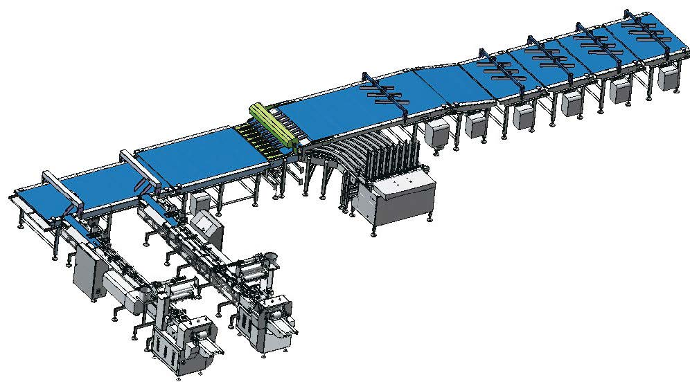 multi-channel tray loading packing line for biscuit