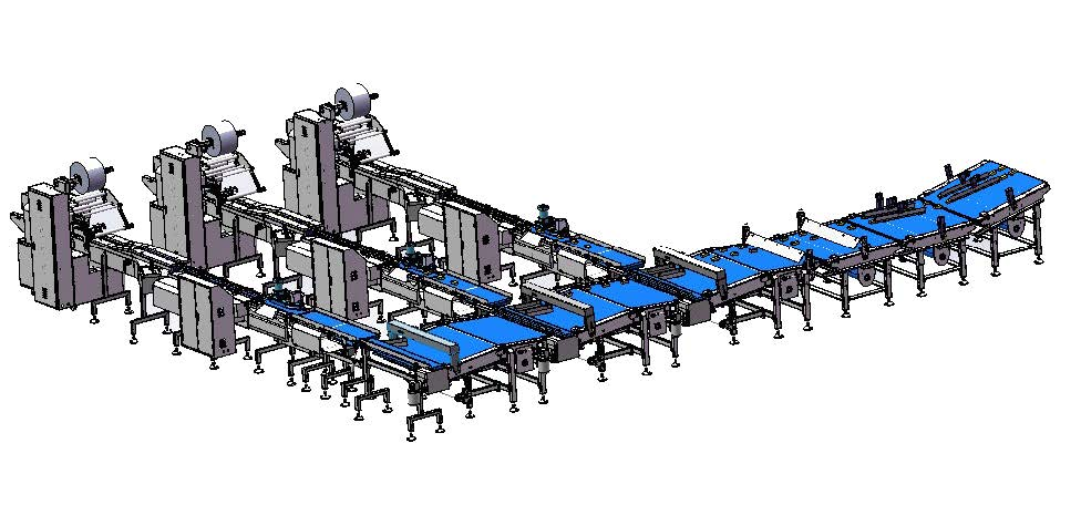 up feeding packaging system for bakery