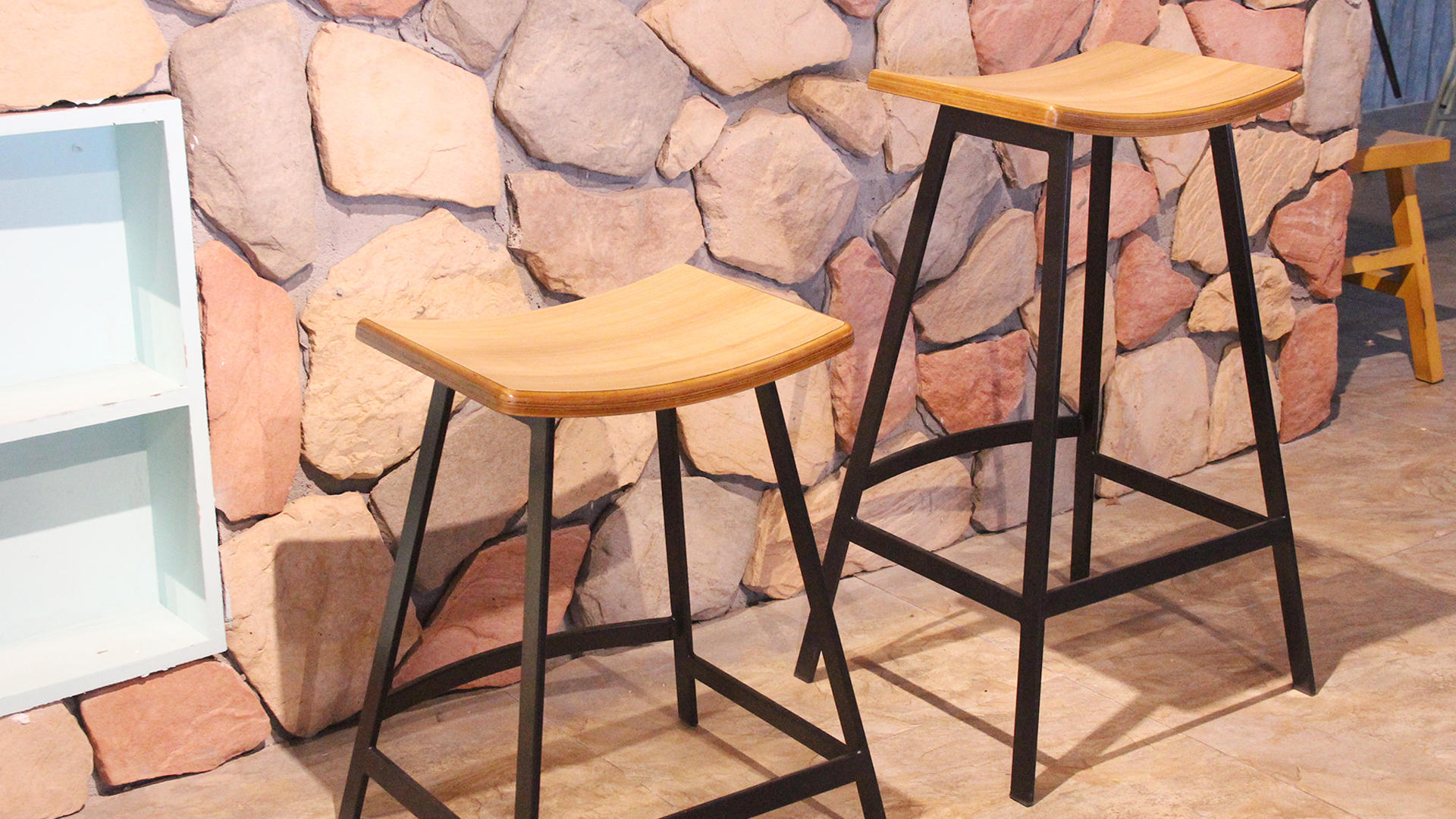 Counter High Stool French Tall Wooden Top Bar Stool 705B-H45(75)-STW