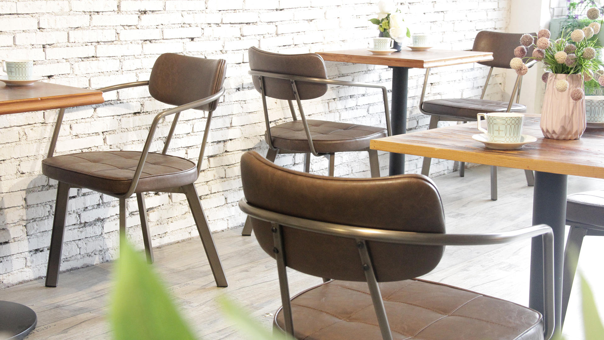 Metal Frame Italian Woven Brown Real Leather Dining Chair 795M-H45-STPU