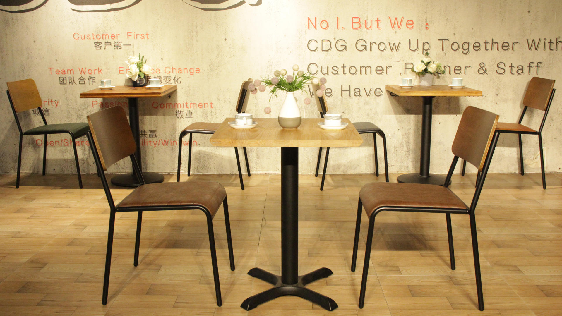 Stacking Industrial Plywood Backrest Vintage Pu Leather Seat Dining Chair 822-H45(75)-STWPU