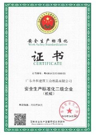 合和安全生产标准化二级企业证书(2019-2022)
