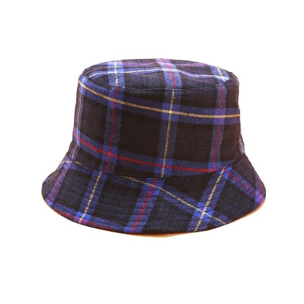 2019 Cotton Double Sided Fashion Plaid Bucket Hat Cap Checked  Bucket Fishing Hat Outdoor Travel Sun Cap Hats