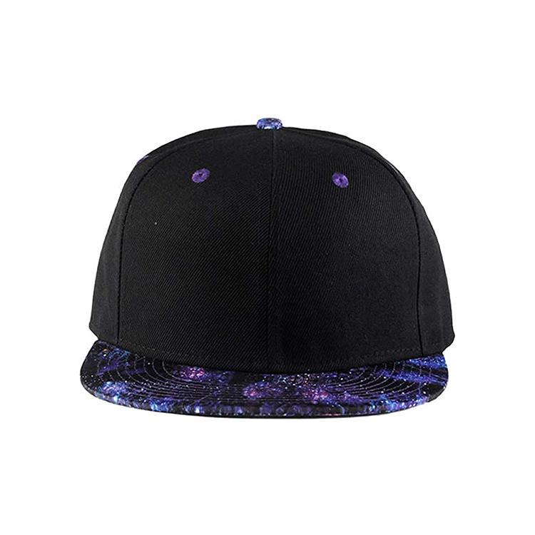 Purple Galaxy Snapback Hat Unisex Hat Hip Hop Plaid Flat Bill Brim Adjustable Baseball Cap