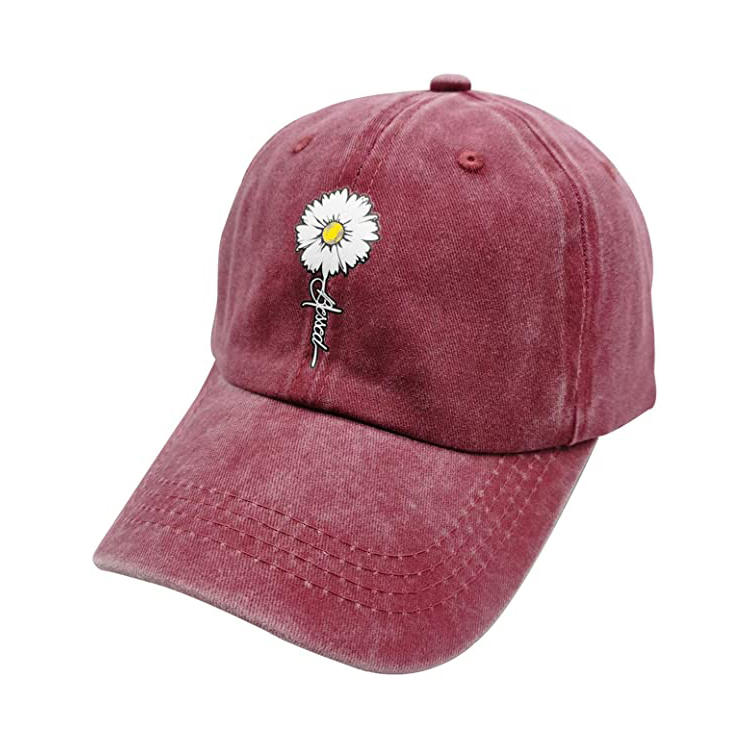 Women's Adjustable Distressed Blessed Faith Hat Vintage Washed Baseball Cap