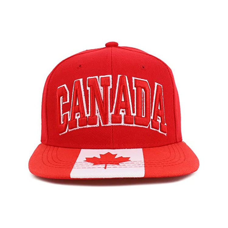 Country Name 3D Embroidery Flag Print Flatbill Snapback Cap