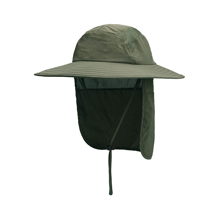 Prefer Mens UPF 50+ Sun Protection Cap Wide Brim Fishing Hat with Neck Flap