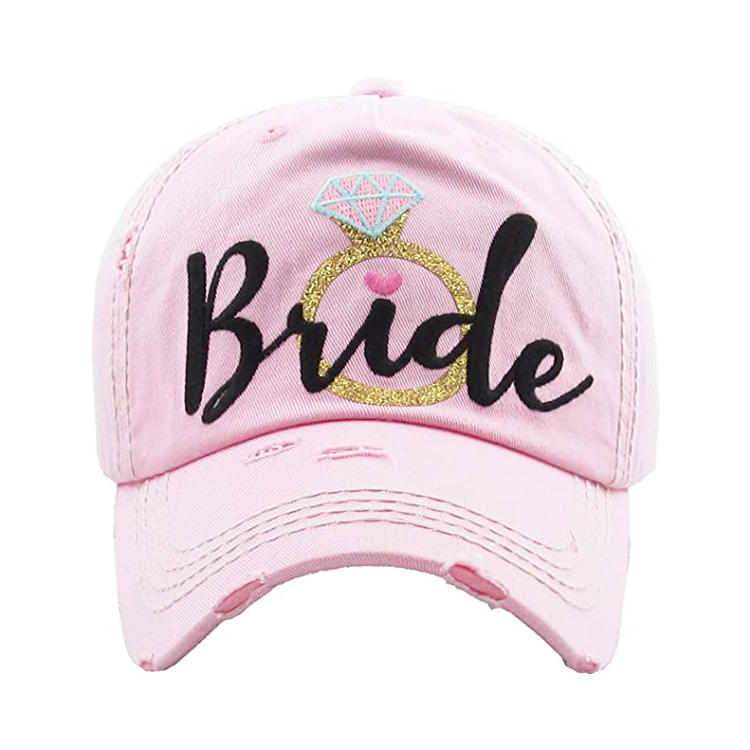 Women's bridal baseball caps- bride tribe distressed washed vintage embroidered bachelorette wedding party hat