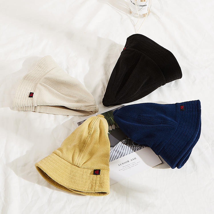Custom terry towel/cotton embroidery/leather patch bucket hat, bucket cap