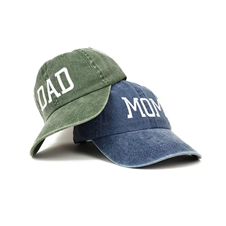 ACE Capital Mom and Dad Pigment Dyed Couple 2 Pc Cap Set