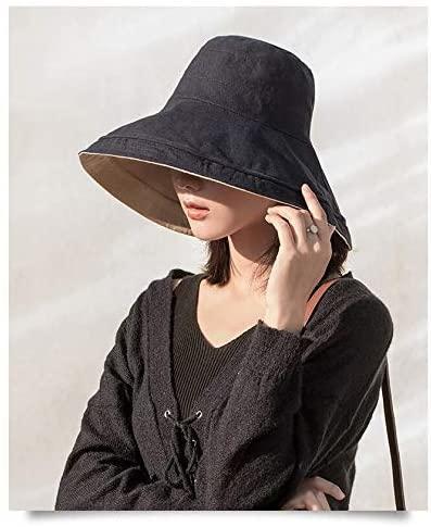 Women's Packable Reversible Bucket Hat UV Sun Protection Wide Brim Summer Beach Cap