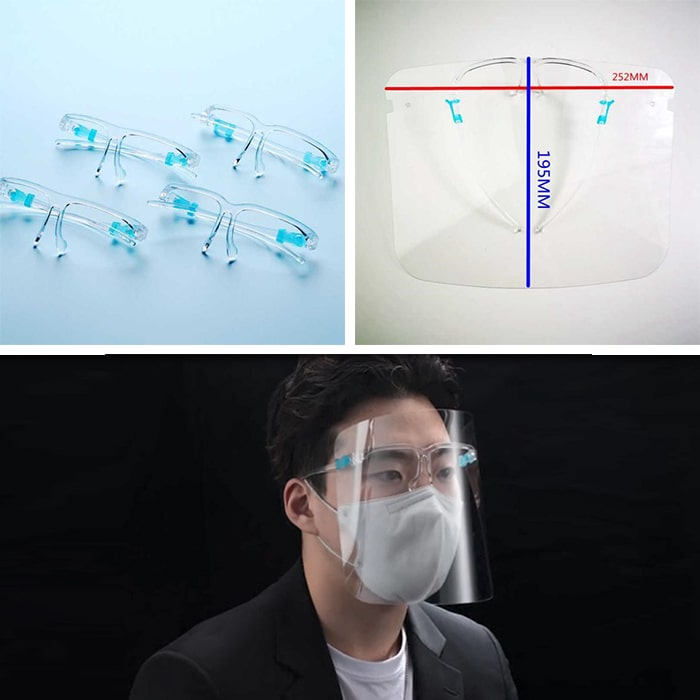 Face Shield with Glasses Frames Clear Pet Shields Anti Saliva