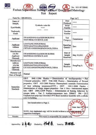 Synthetic Resin Roof Sheet Test Report P2