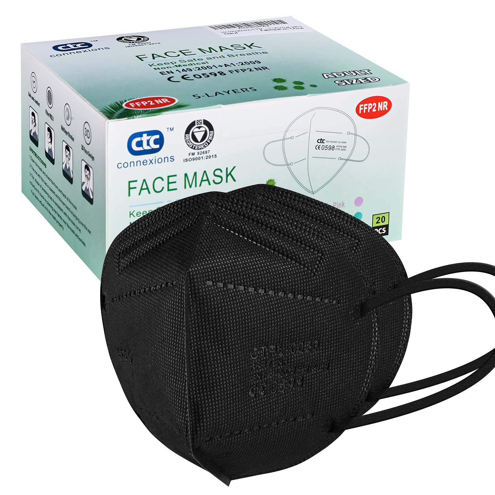 CTPL-0020 Black FFP2 Respirator Face Mask with CE0598 by Connexions Technology