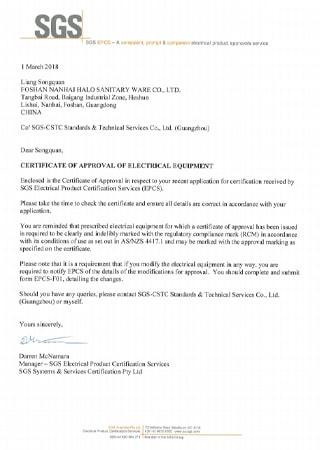 EPCS Certificate From AquaSpring Spas