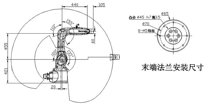 六轴机器人 SYR006-900运动范围与安装尺寸图