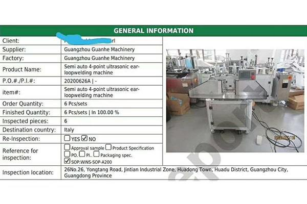 Guanhe 4 Points Earloop Welding Machines Passed the 3rd Party Inspection