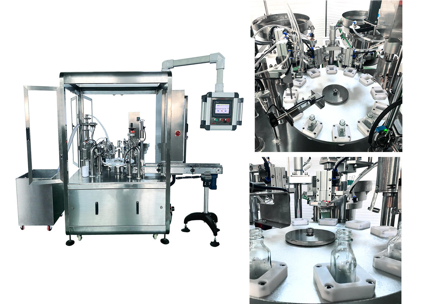 2-nozzle large dosage liquid filling-capping machine for glass/plastic bottles stoppered