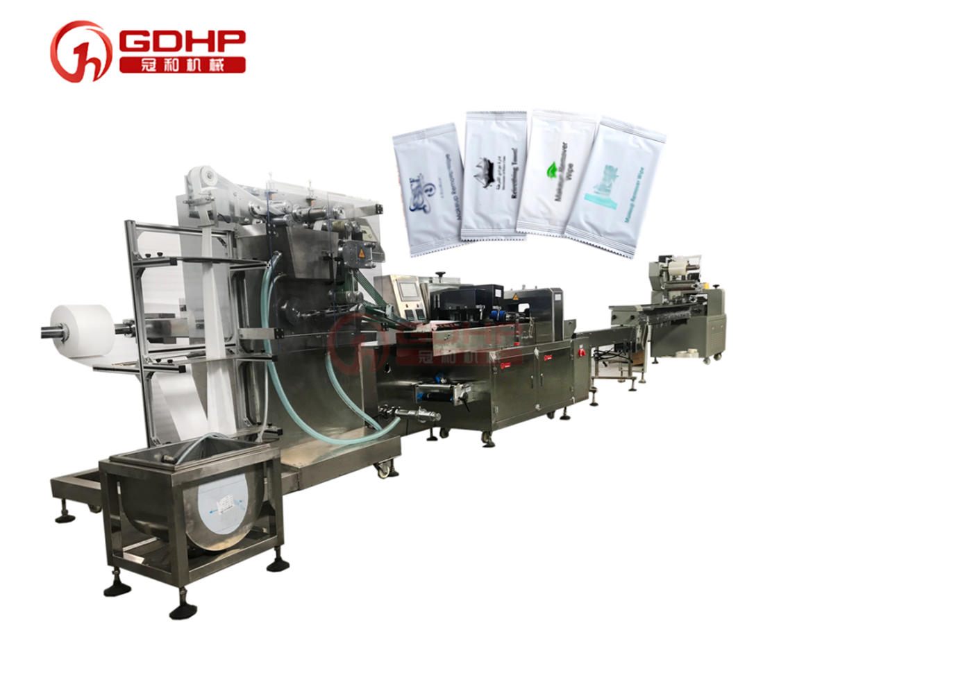 Automatic three-side sealing wet wipes packing production line