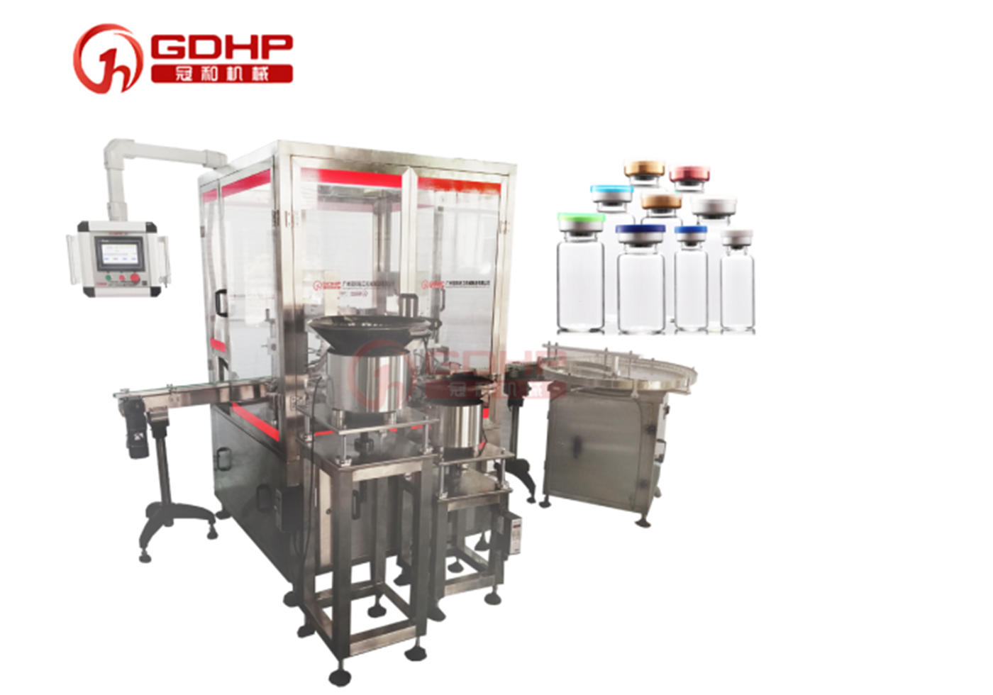 Vial bottle filling, plugging and capping machine